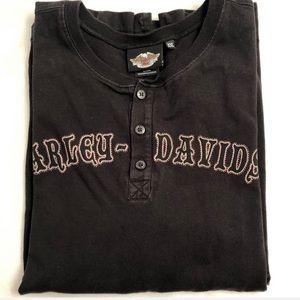 Harley-Davidson black long sleeve Henley t-shirt